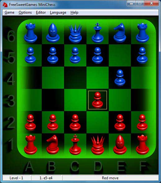 Click to view FreeSweetGames Minichess 3.1.40 screenshot