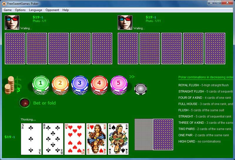 Play draw poker against 5 opponents at once