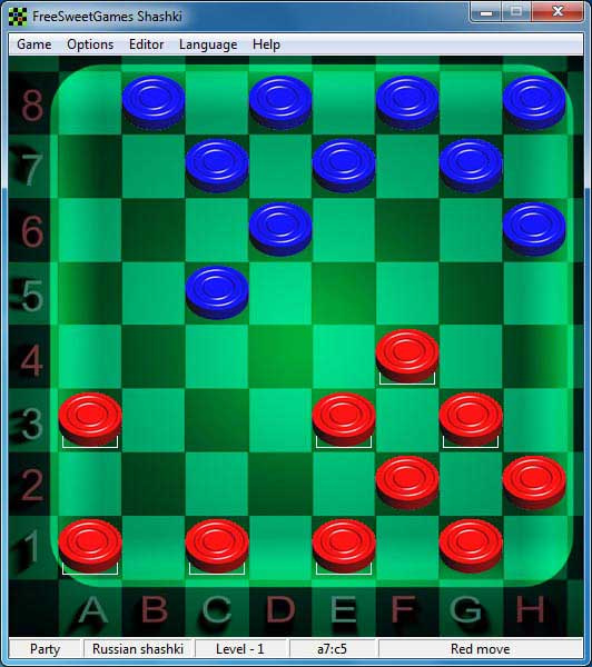 Click to view FreeSweetGames Shashki 6.2.40 screenshot